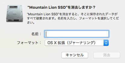 SSDはデータオプションが表示されない